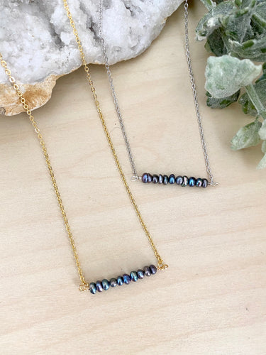 Dark Pearl Bar Necklace