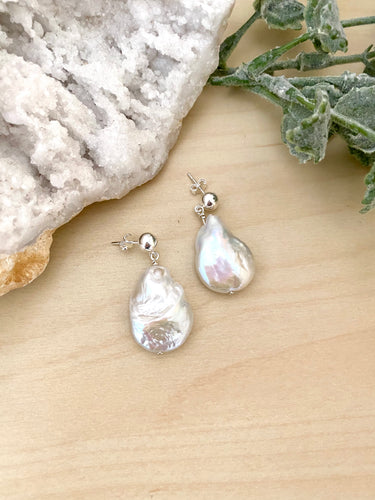 Baroque Pearl Earrings on Sterling Silver Studs