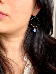 Hoop Earrings with Light Blue Chalcedony Drop - Gold fill or Sterling Silver