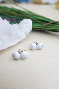 Howlite gemstone studs on surgical steel posts monochromatic post earrings