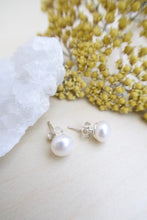 Load image into Gallery viewer, White Freshwater Pearl Earrings on Sterling Silver Posts 7.5-8mm