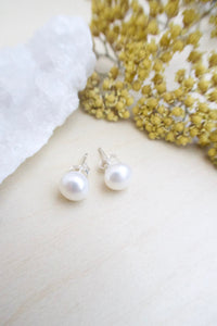White Freshwater Pearl Earrings on Sterling Silver Posts 7.5-8mm