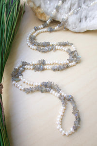 long versitile freshwater pearl and gemstone chip strand with lobster claps