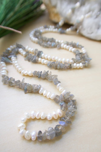 Tiny white freshwater pearl and labradorite long adjustable necklace