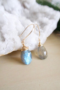 Labradorite Gemstone drop earrings wire wrapped in gold fill wire and suspended from 14k gold fill ear wires
