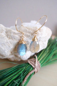 labradorite gemstone earrings with blue green flash on gold fill ear wires