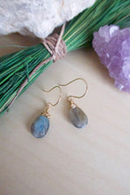 Load image into Gallery viewer, Labradorite Gemstone Drop Earrings - Blue Green Flash - One of a kind