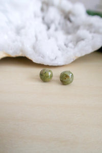 Unakite gemstone studs on hypoallergenic surgical steel posts