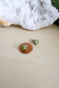 Green gemstone stud earrings on surgical steel posts for sensitive skin