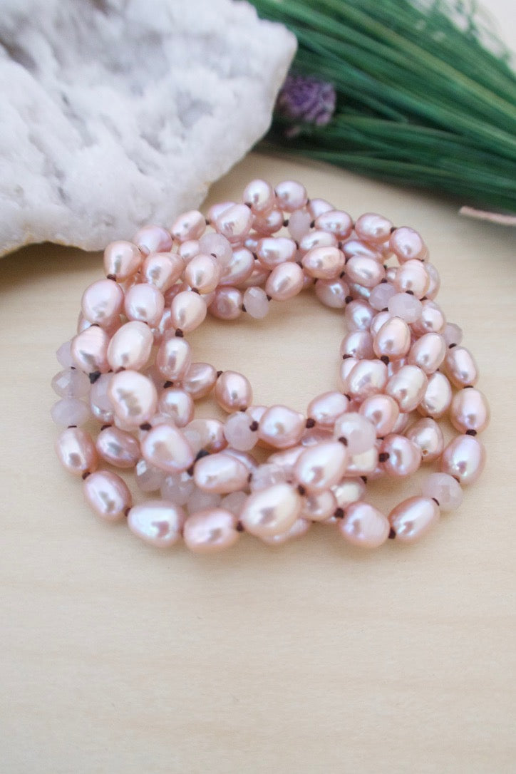 Hand knotted pink freshwater pearl and crystal necklace