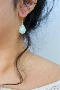 Amazonite Gemstone Drop Earrings - Sea Foam Green - Pastel Colored Gemstones