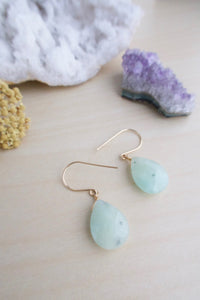 Sea Foam Green Amazonite Gemstones Wire wrapped in 14k gold fill wire