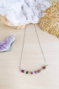 Mixed gemstone confetti bar necklace silver finish