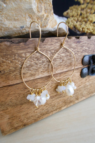 Gold Fill Hoops with White Pearl and Gemstone Dangles