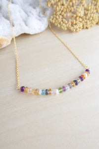 multi gemstone bar necklace 2 inches on a gold plated chain