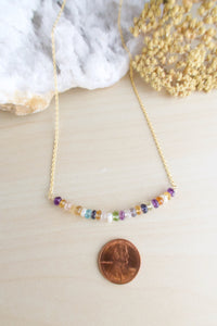 Colorful multi gemstone bar layering necklace