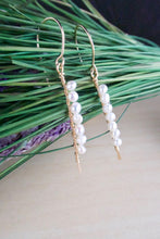 Load image into Gallery viewer, Vertical Freshwater Pearl Bar Earrings - Gold fill