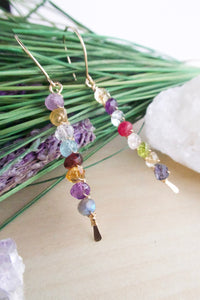 Bright and colorful verticle bar earrings wire wrapped with Gold Fill Ear Wires