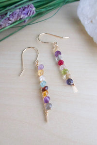 Multi Colored Gemstone Bar earrings on gold fill ear wires