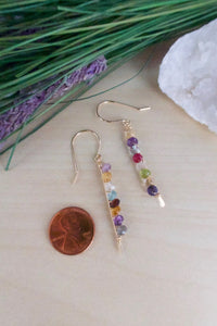 Hypoallergenic Gold Fill earring with multi colored mixed gemstones