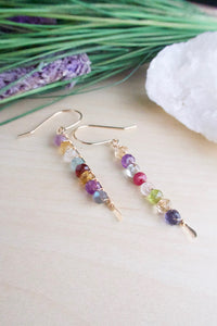 Verticle mixed gemstone bar earrings on 14 k gold fill wires