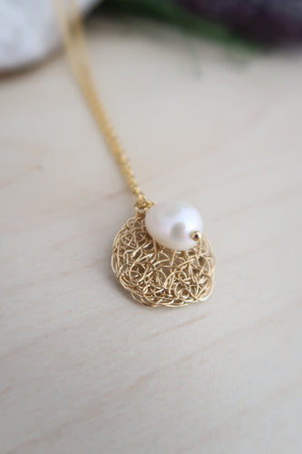 Wire Crochet Sona Necklace with Freshwater Pearl Drop