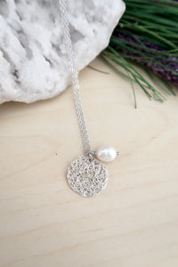 Silver Wire Crochet Sona Necklace with Freshwater Pearl Drop
