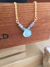 Load image into Gallery viewer, Aqua Chalcedony and Labradorite Gemstone V Necklace - Gold finish
