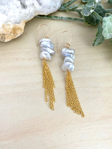 Keshi Pearl Tassel Earrings