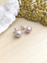 Load image into Gallery viewer, Pink Freshwater Pearl Earrings on Sterling Silver Posts
