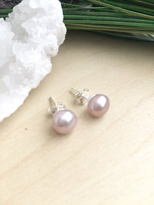 Pink Freshwater Pearl Earrings on Sterling Silver Posts