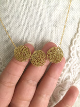 Load image into Gallery viewer, Wire Crochet Trio Necklace - Delicate Lacy Pendant Necklace with 3 Crochet Discs