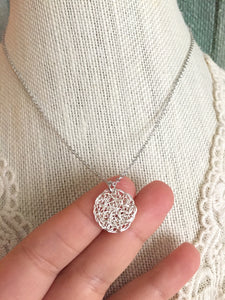Wire Crochet Tina Necklace - Delicate Lacy Pendant Necklace - Sterling Silver or Gold Fill