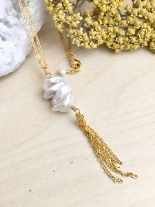 Vertical Keshi Pearl Necklace with Chain Tassel