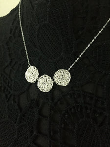 Wire Crochet Trio Necklace - Delicate Lacy Pendant Necklace with 3 Crochet Discs