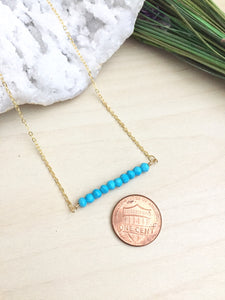Turquoise Bar Necklace - 1 inch bar - Layering Necklace
