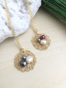 Wire Chrochet Nest pendant necklace with freshwater pearl eggs