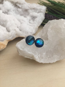 front view of a pair of metallic blue abalone earrings