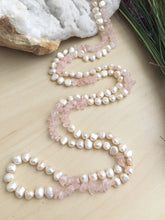 Load image into Gallery viewer, Long freshwater pearl and rose quartz hand knotted necklace