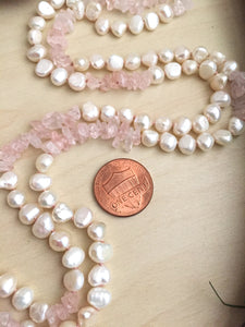 White Freshwater Pearl and pink gemstone hand knotted strand