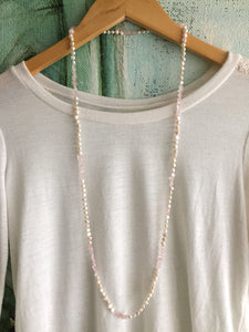 Long Casual freshwater pearl and rose quartz necklace