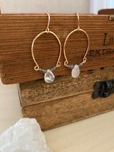 Load image into Gallery viewer, Labradorite and Rainbow Moonstone Inverted Hoop earrings - Gold fill
