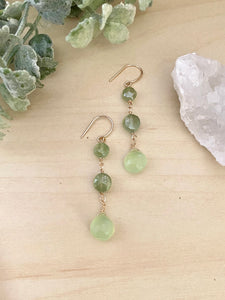 Green Chalcedony Drop Earrings - 14k Gold Filled