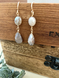 Brown Moonstone Drop Earrings - 14k Gold Filled
