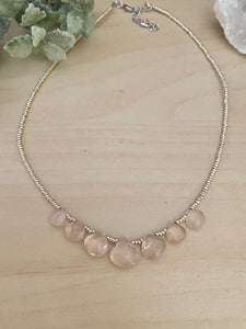 Talia Necklace - Short Beaded Necklace with Rose Quartz