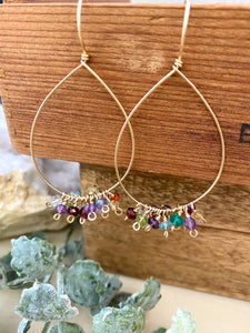Confetti Drop Hoops - Colorful Mixed Gemstone Hoops - 14k Gold filled