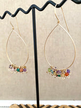 Load image into Gallery viewer, Confetti Drop Hoops - Colorful Mixed Gemstone Hoops - 14k Gold filled