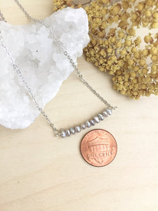Grey Pearl Bar Necklace