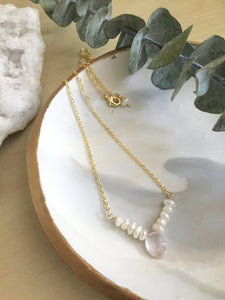 Freshwater Pearl and Rose Quartz or Chalcedony Gemstone V Necklace