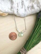 Load image into Gallery viewer, Freshwater Pearl and Rose Quartz or Chalcedony Gemstone V Necklace